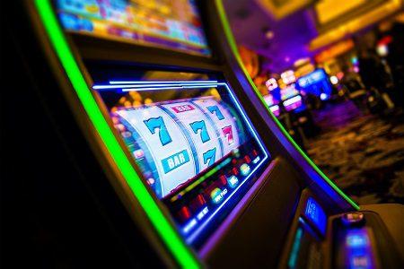 Casino Slot Machines. Las Vegas Strip Digital Slot Machine Closeup