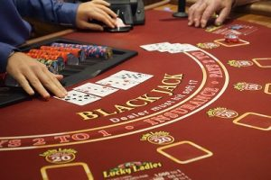 Blackjack table in a casino on a cruise ship in the Caribbean Sea