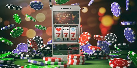 Slot machine on a smartphone screen, poker chips
