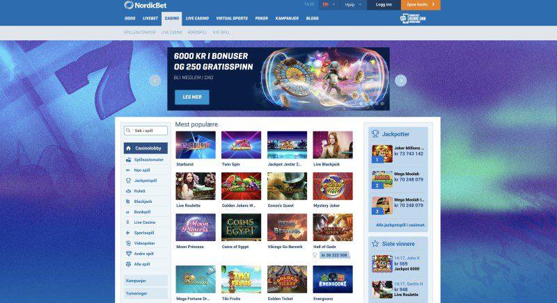 NordicBet Casino nettside